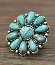 Load image into Gallery viewer, Round Turquoise Cluster Ring