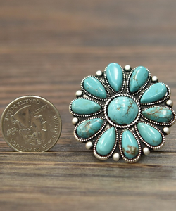 Round Turquoise Cluster Ring