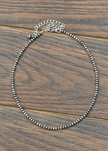 "Faux 16"" Silver Pearl Necklace"