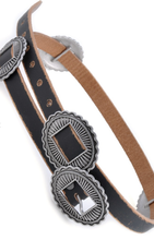 Load image into Gallery viewer, Black Leather Concho Belt