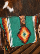Load image into Gallery viewer, Saddle Blanket Tote Bag - Teal Aztec