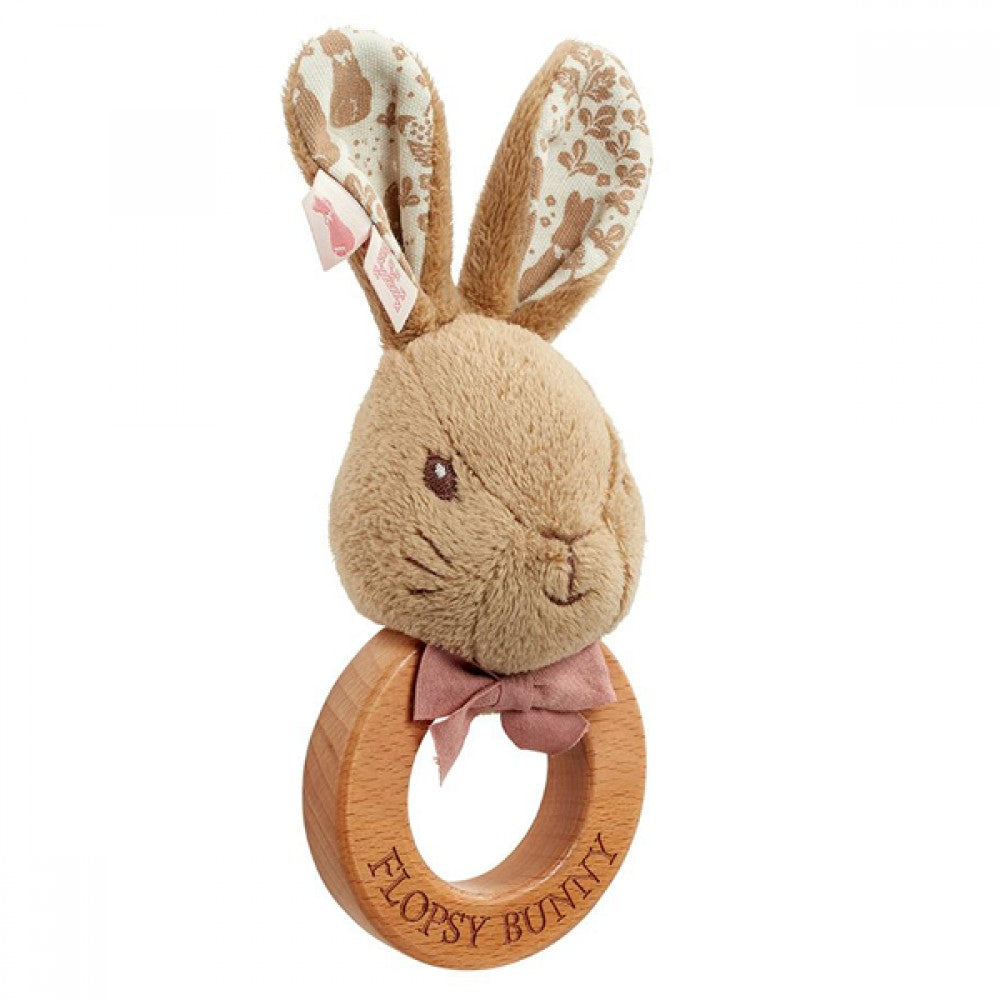 Peter Rabbit | Signature Flopsy Bunny Wooden Ring Rattle
