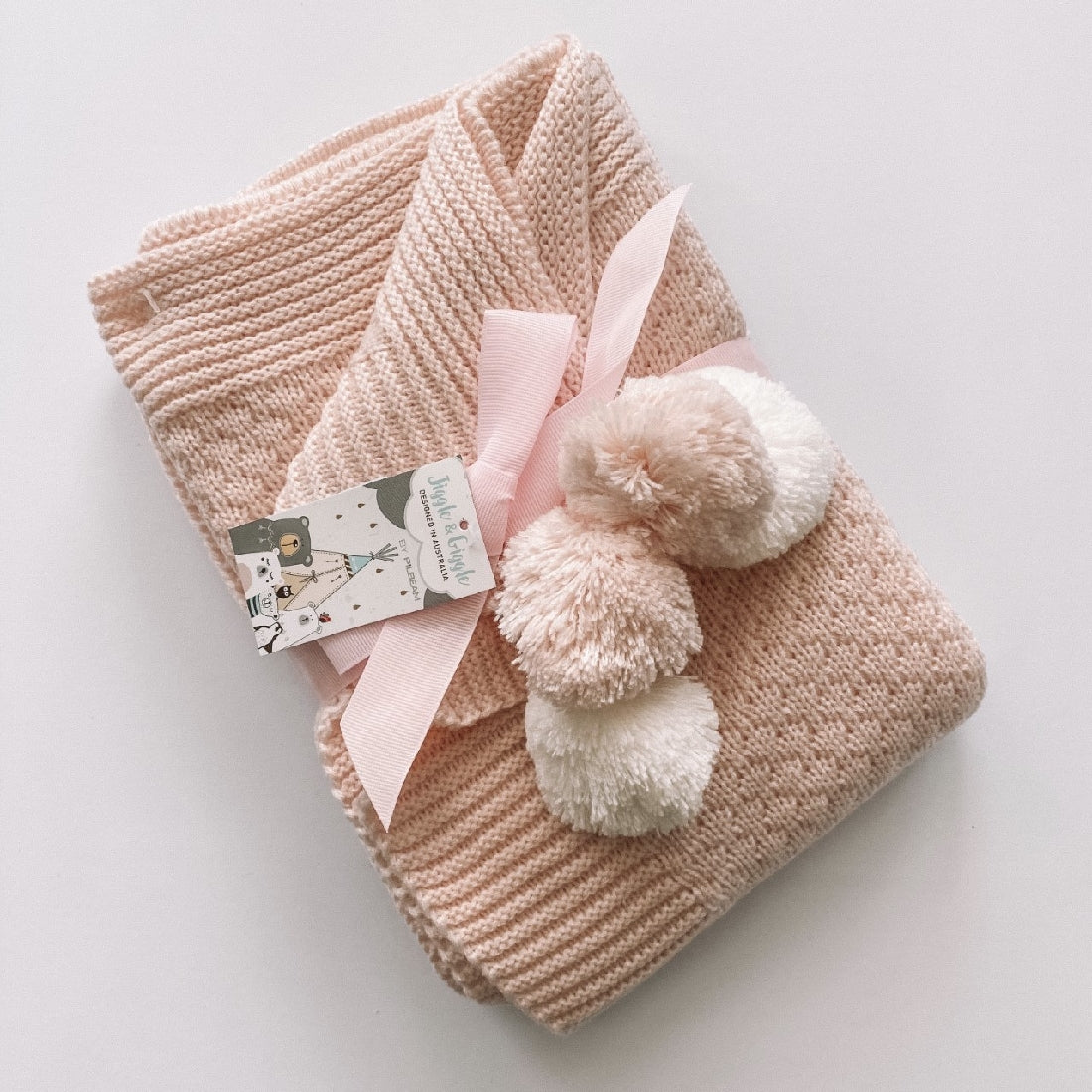 Baby Knit Blanket I Pink with White Pom Poms