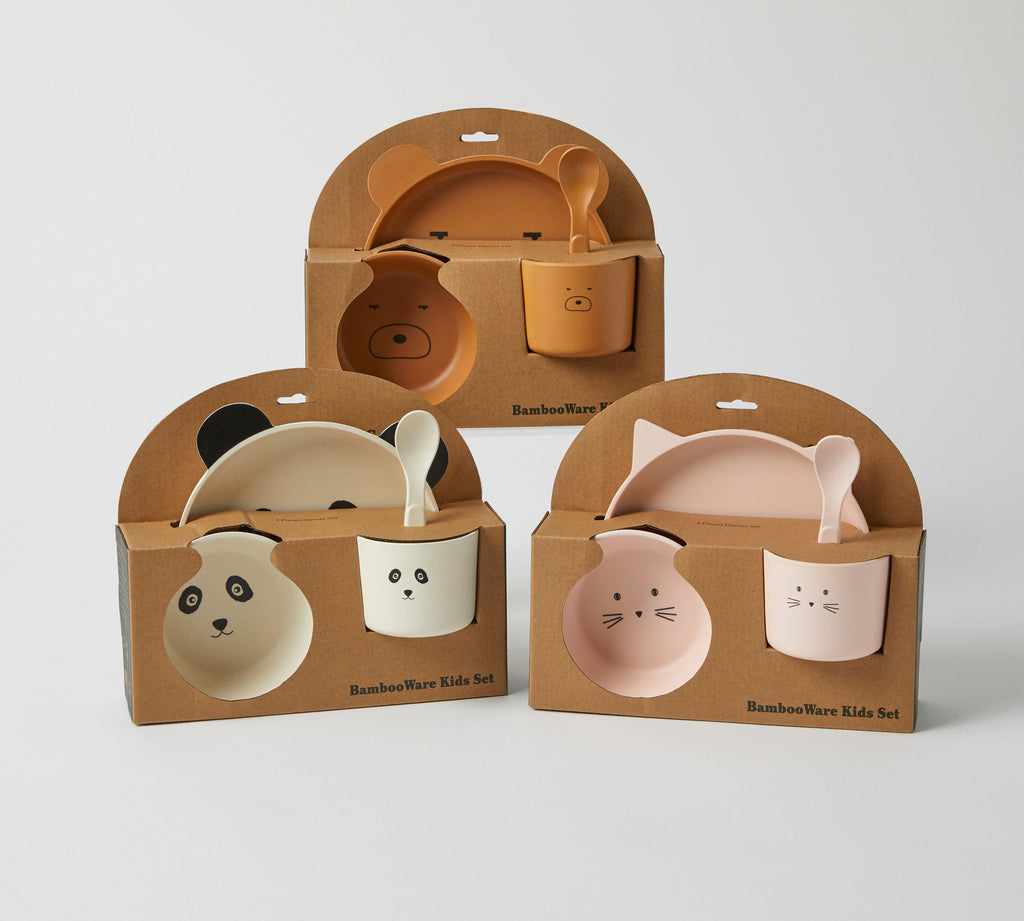 Animal Faces Kids Bamboo Dining Set