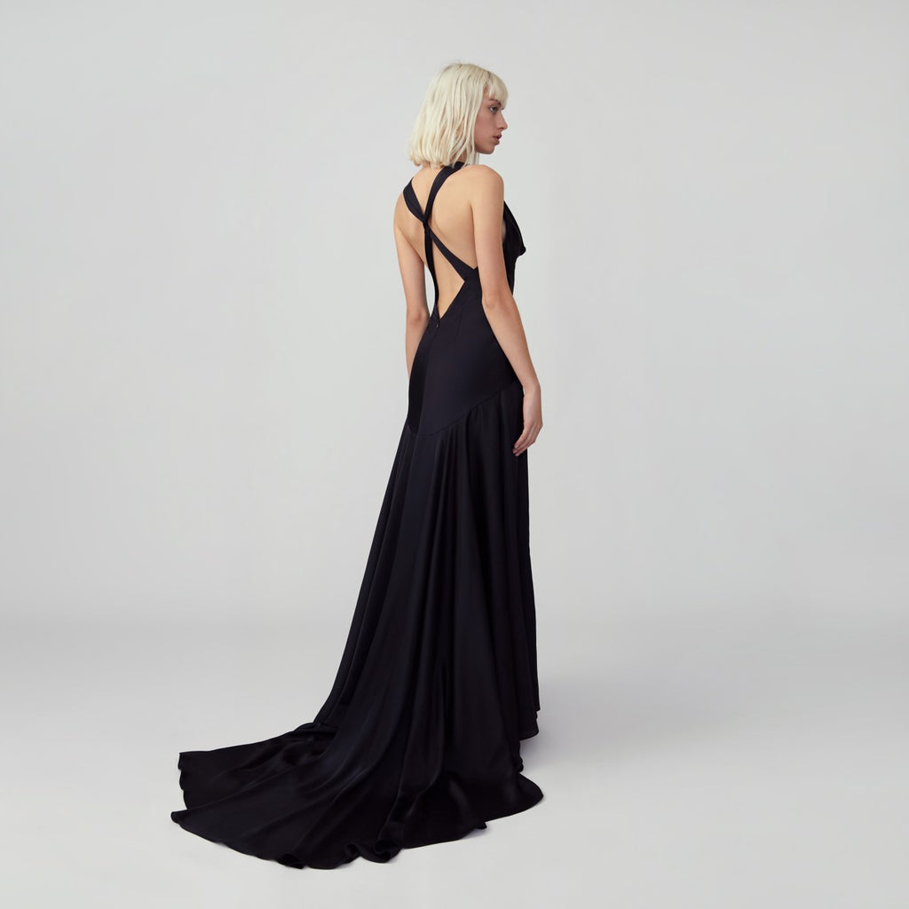 Draped Twist Back Gown