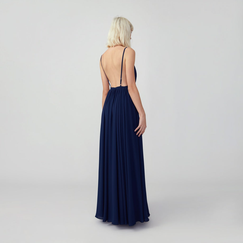 Gathered Open Back Wrap Dress