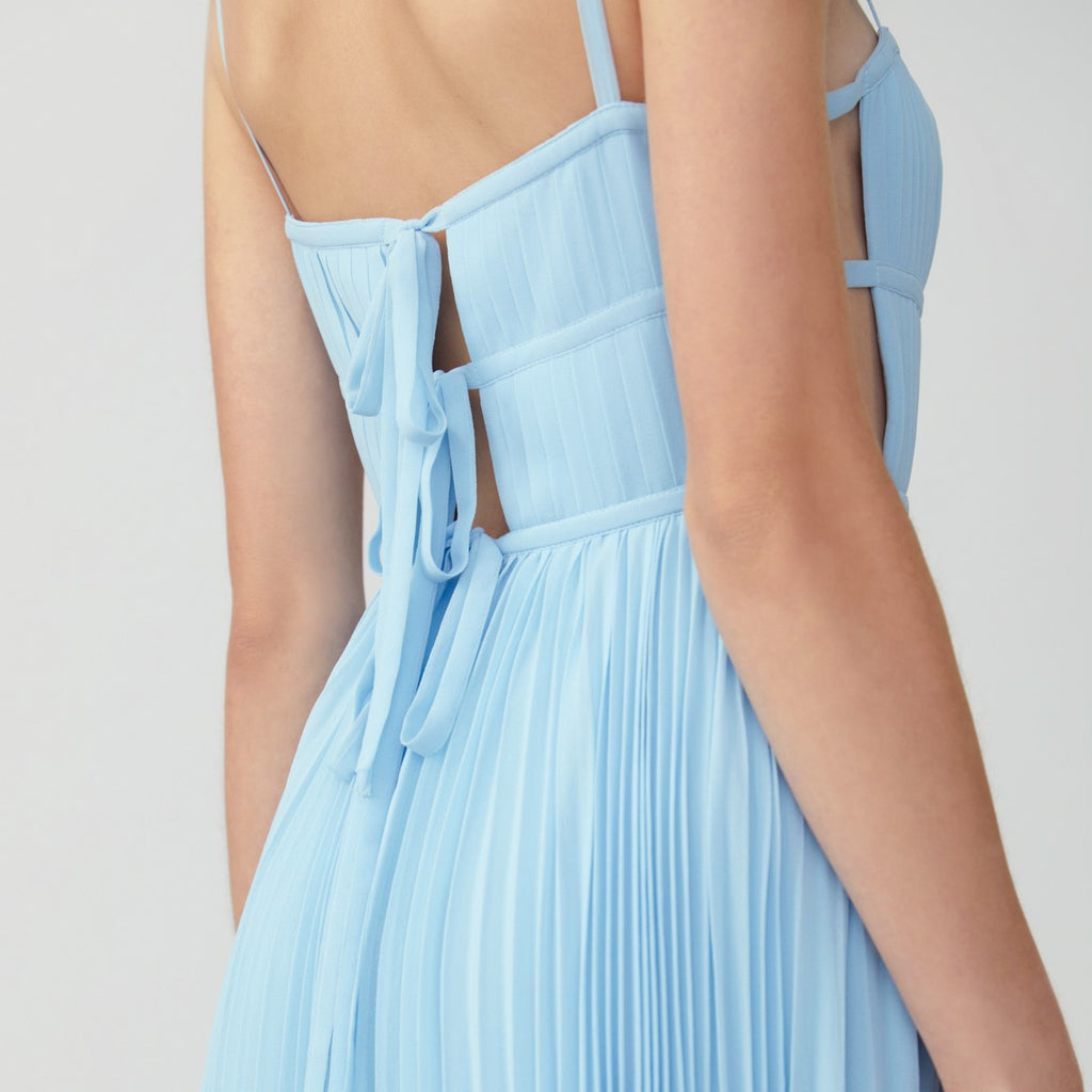 Pleated Side Cutout Dress