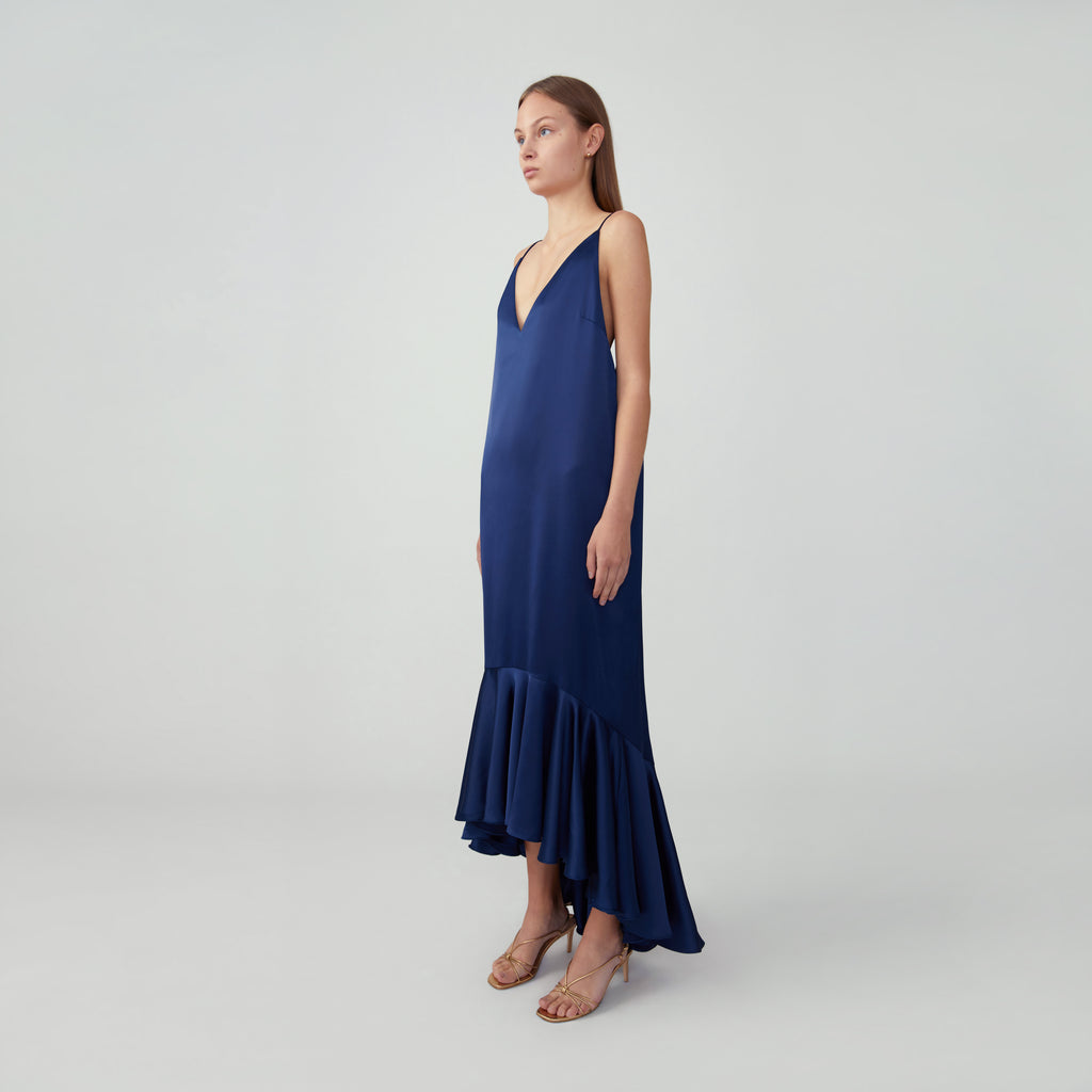 High-Low Ruffle Hem Gown
