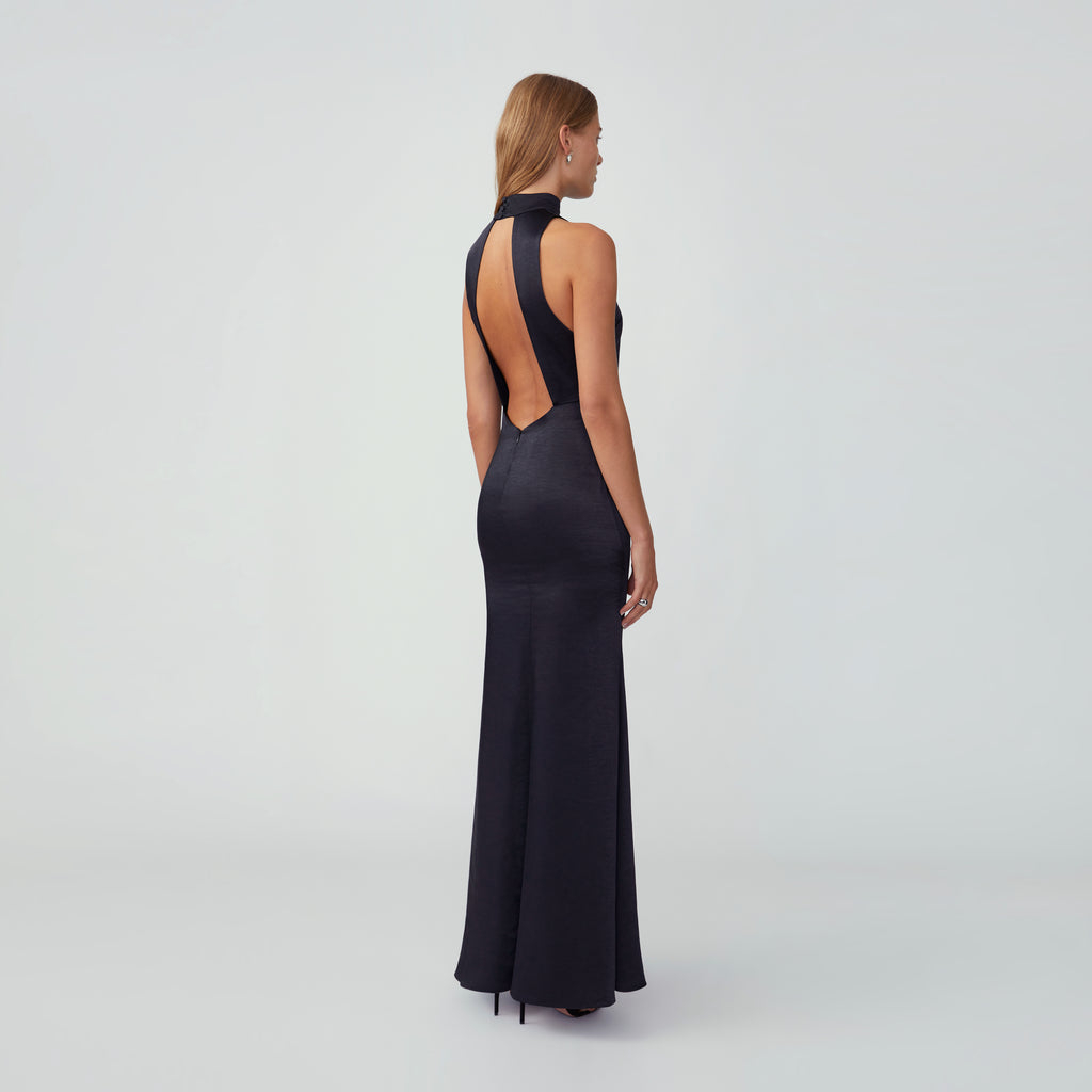 High Neck Flared Maxi