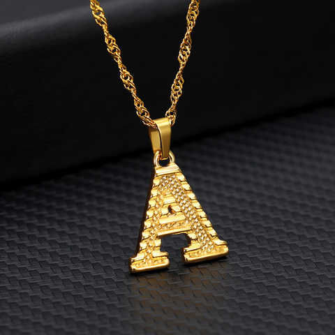 Initialed Gold Necklace For Women