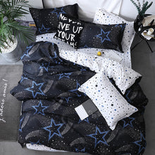 Load image into Gallery viewer, Black star Bed Linen High Quality 3/4pcs Bedding Set duvet Cover Flat bed sheet pillowcase soft Twin Single full queen king