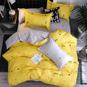 Black star Bed Linen High Quality 3/4pcs Bedding Set duvet Cover Flat bed sheet pillowcase soft Twin Single full queen king