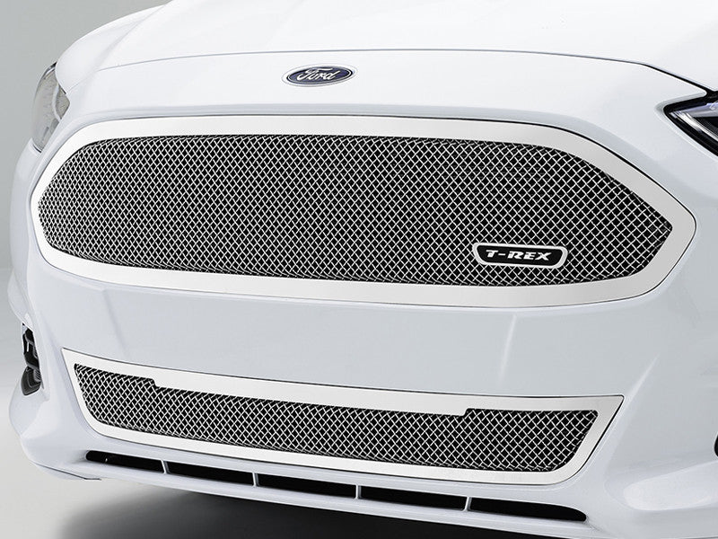 2013 2014 Fusion Mesh Grille Grill Upper Class Series Polished Chrome by T-Rex 54532 55531