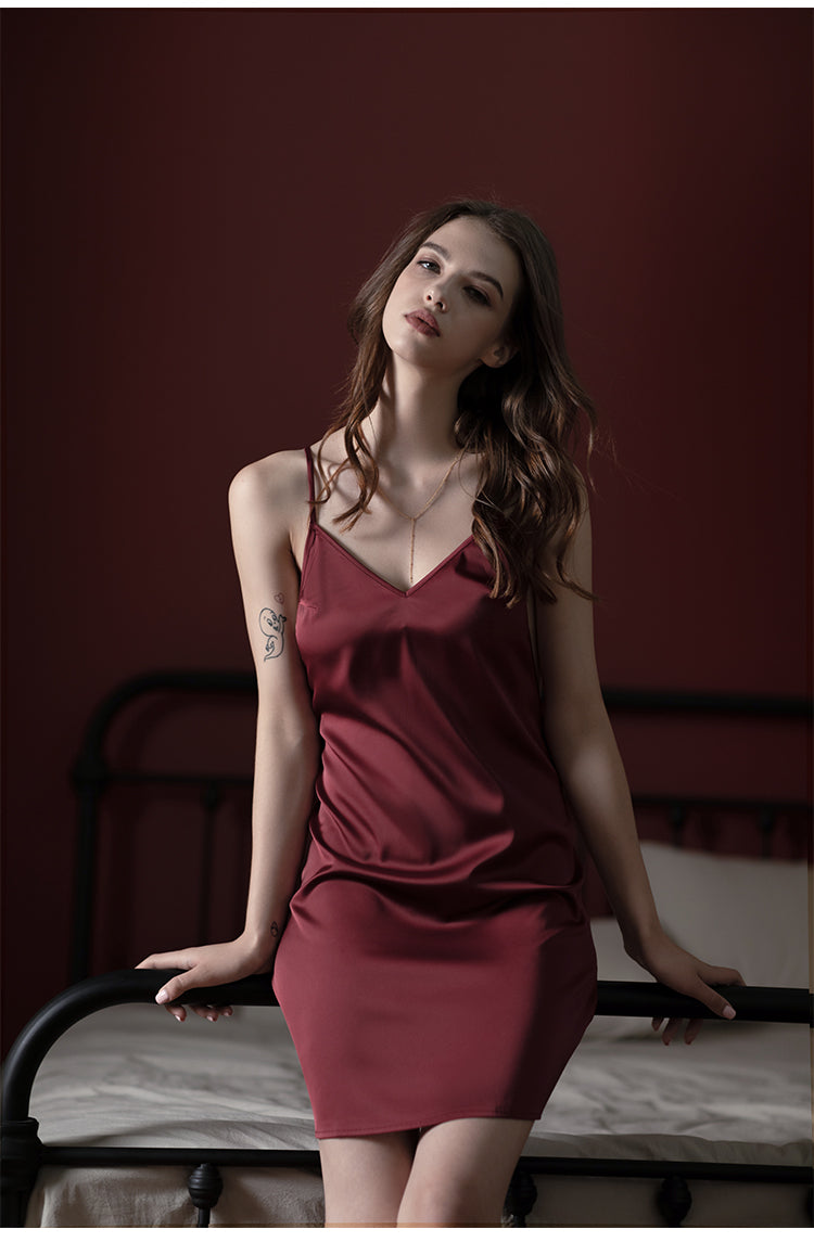Sexy Pure Mulberry Silk Sleep Dress for Summer (Multi-Colour)