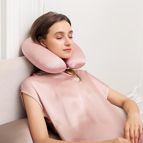 Mulberry Silk Neck Pillow with Adjustable Button Fastener