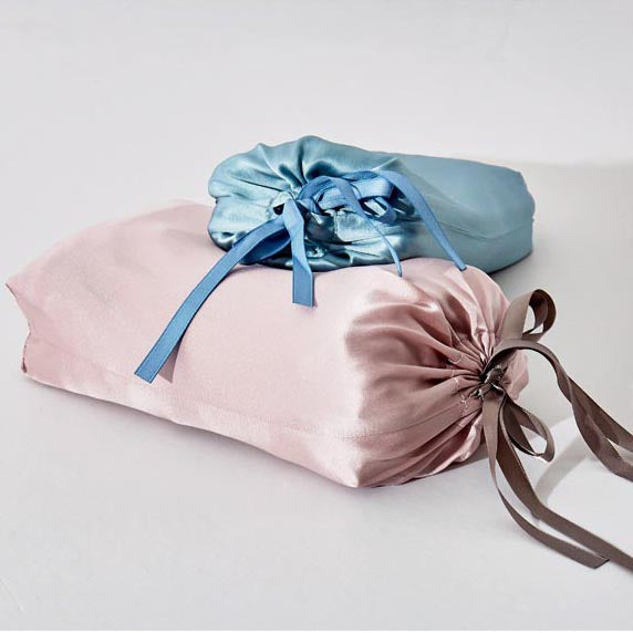 Mulberry Silk Bed Sheet & Pillow Cover, Silk Sleeping Bag (Pink/ Blue)