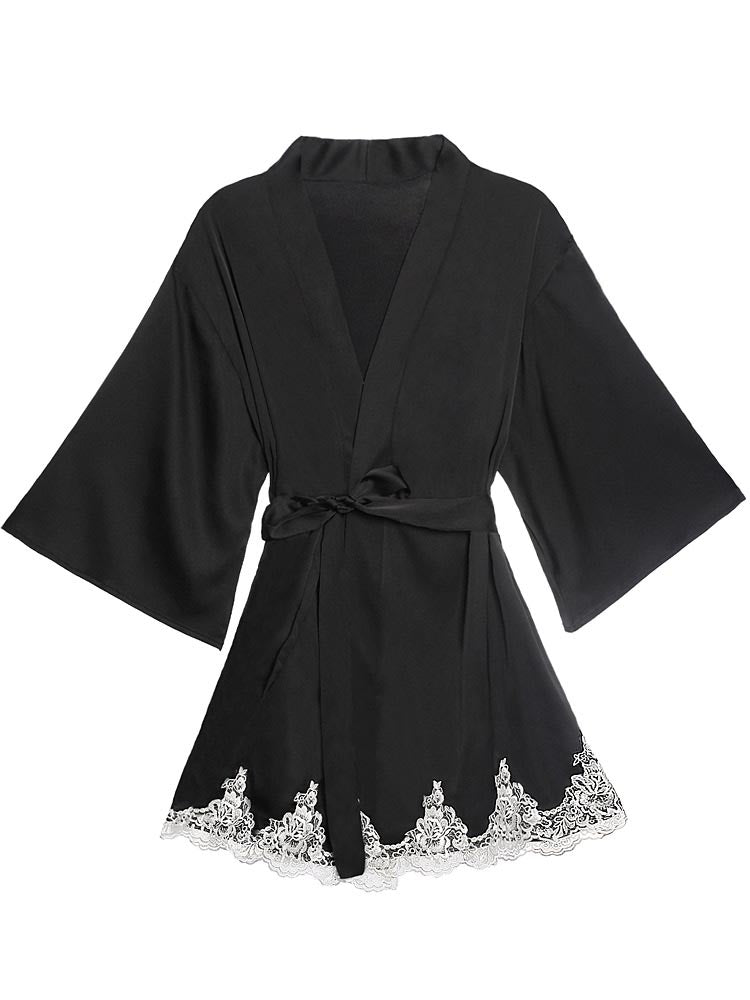 Satin Robe Set with Lace for Spring & Summer, Bridesmaid Robe
