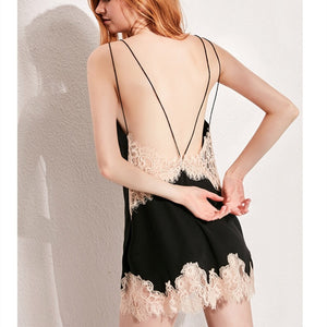 Sexy Backless Mulberry Silk Sleep Dress with Lace Hemline for Summer (Black/ White)