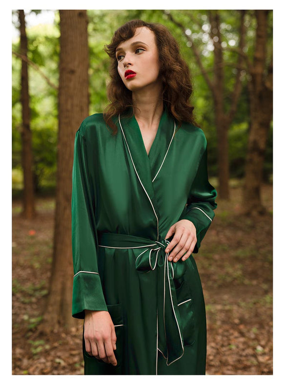 Luxury Mulberry Silk Long Robe for Spring, Bridesmaid Robe, Gift for Her
