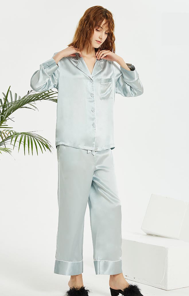 Pure Mulberry Silk Long Sleeve Pajamas for Spring 2-piece, Best Gift