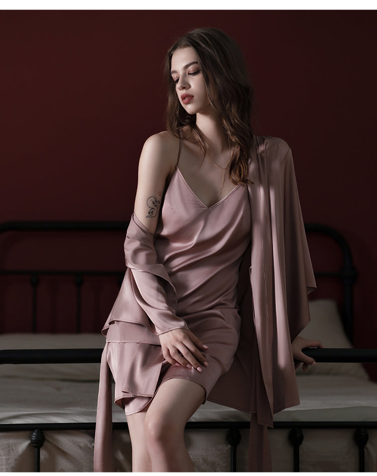 Pure Mulberry Silk Pink Robe for Spring & Summer, Bridesmaid Robe and Dress