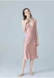 Natural Mulberry Silk Sleep Dress/ Camisole, Pajama for Summer (Pink)