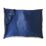 2-in-1 Mulberry Silk Sleeping Combo, Pillowcase and Eye Cover (Blue)