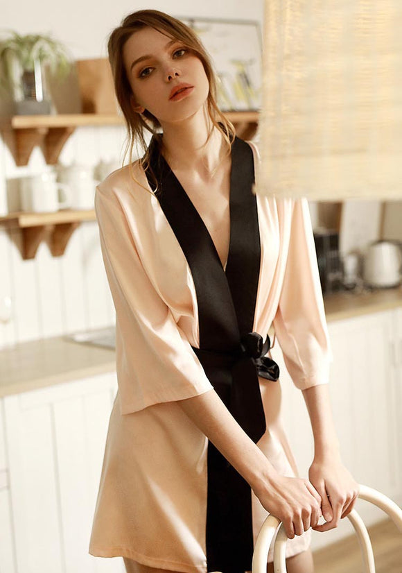 Pure Mulberry Silk Pink Robe for Spring & Summer, Bridesmaid Dress