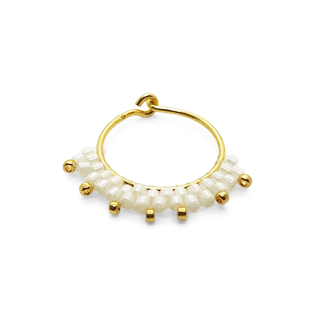 Magic White - beaded Hoops (20 mm)