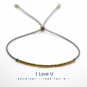 "Gold String Morse - ""I Love U"" bracelet"