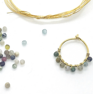 Shades of Mint - Stone hoops (20mm)