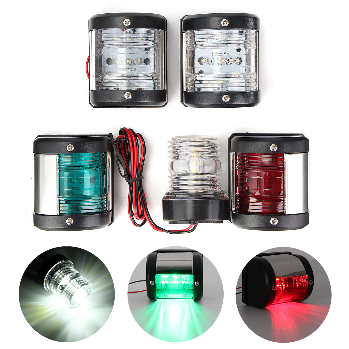 Boat Lights, Marine Lights, LED Navigation Lights, Boat Navigation Light Set 5 Lights - Port, Starboard, Masthead, Stern, Anchor Light 360