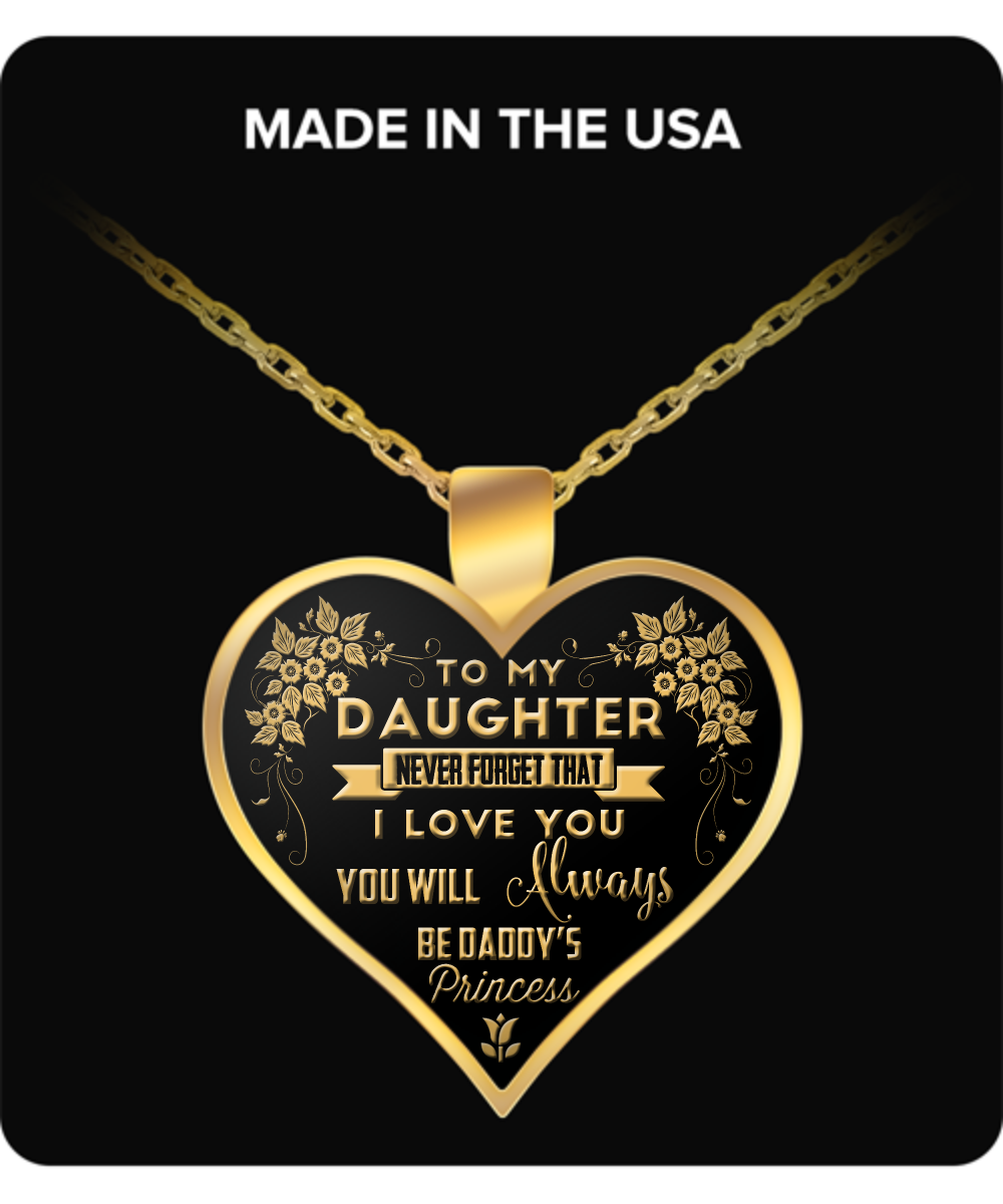 Daughter Heart Pendant Necklace – Daddy's Princess Pendant Necklace