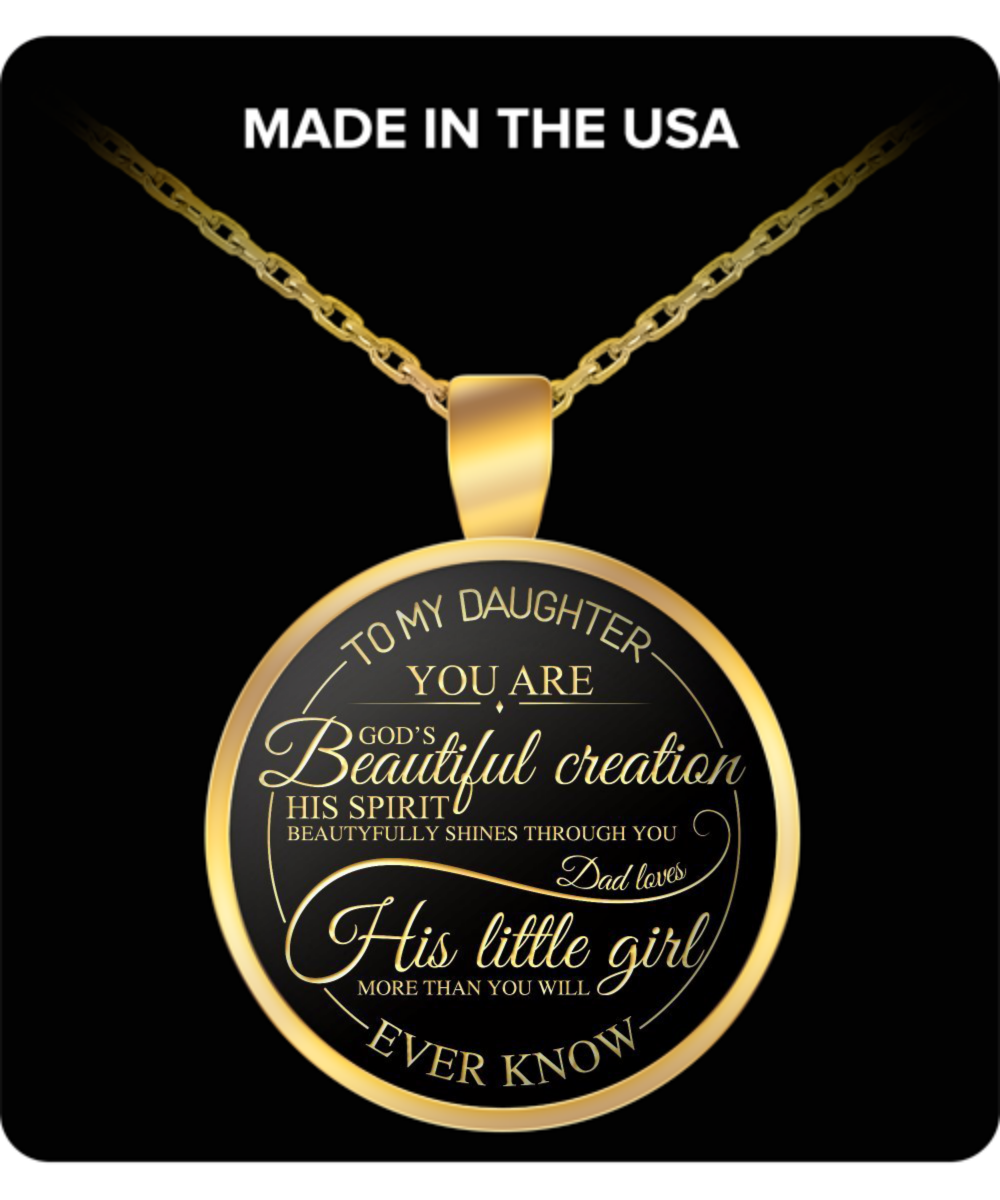 Daughter Round Pendant Necklace – To My Daughter You Are God's Beautiful Creation