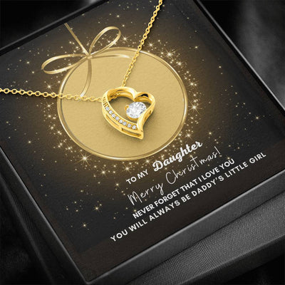 To My Daughter Merry Christmas Heart Necklace