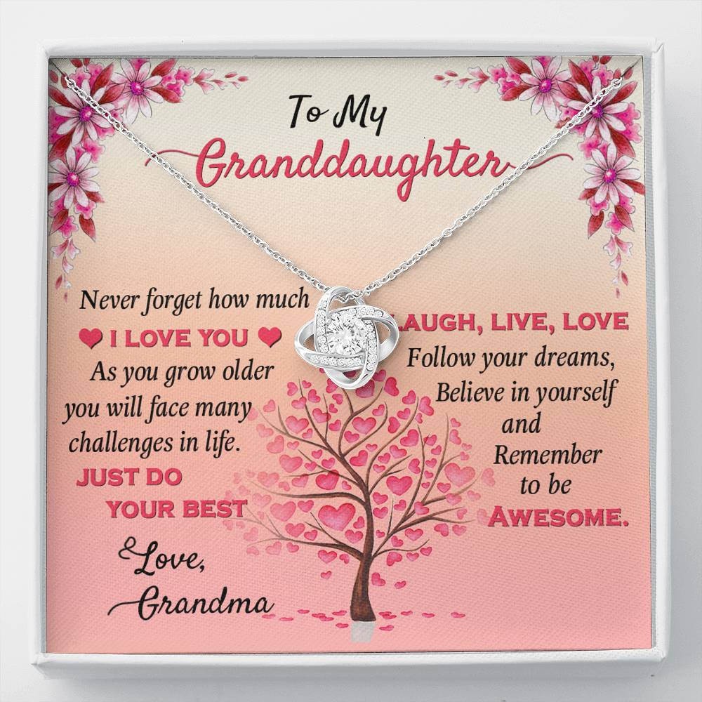 To My Granddaughter Love Knot Necklace