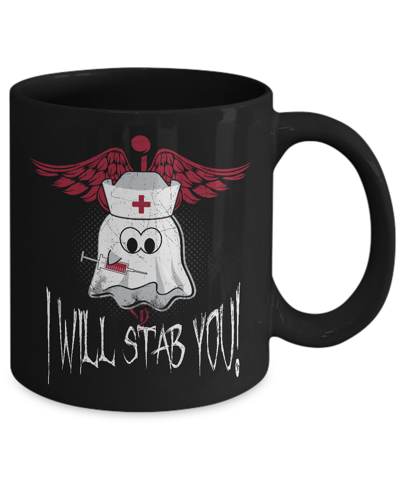 Halloween Mugs - 11oz Coffee Mug - I Will Stab You - Funny Ceramic Tea Cup For Men Women