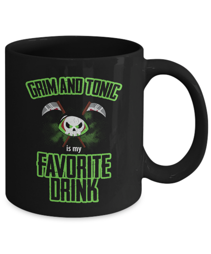Halloween Mugs - 11oz Coffee Mug - Grim And Tonic Is My Favorite Drink - Funny Ceramic Tea Cup For Men Women
