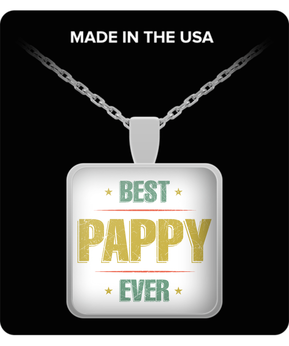 Grandpa Square Pendant Necklace – Best Pappy Ever