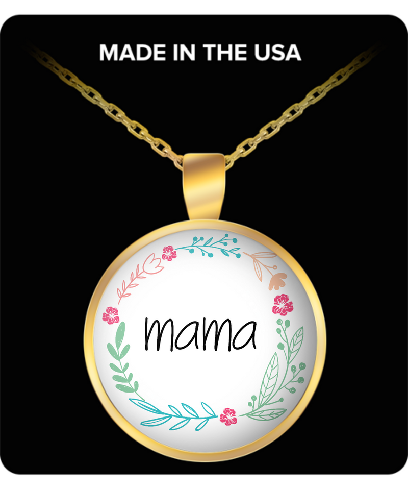 Mom Round Pendant Necklace - Mama