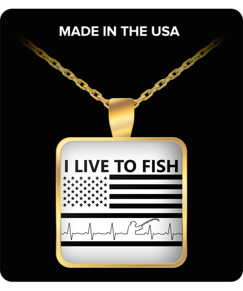 Fishing Square Pendant Necklace – I Live To Fish