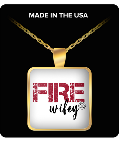 Wife Square Pendant Necklace – Fire Wifey