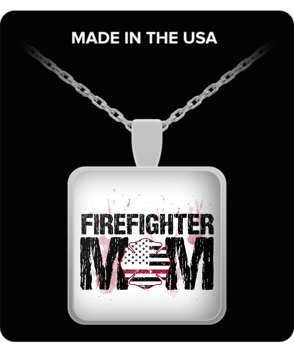 Mom Square Pendant Necklace – Firefighter Mom