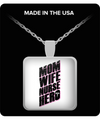 Mom Square Pendant Necklace - Mom Wife Nurse Hero