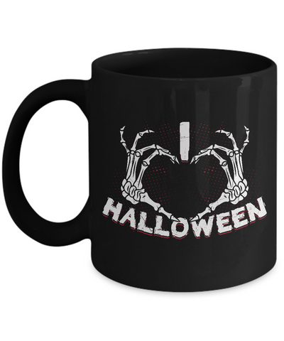 Halloween Mugs - 11oz Coffee Mug - I Heart Halloween - Funny Ceramic Tea Cup For Men Women