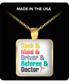 Doctor Square Pendant Necklace – Cook & Maid & Driver & Referee & Doctor