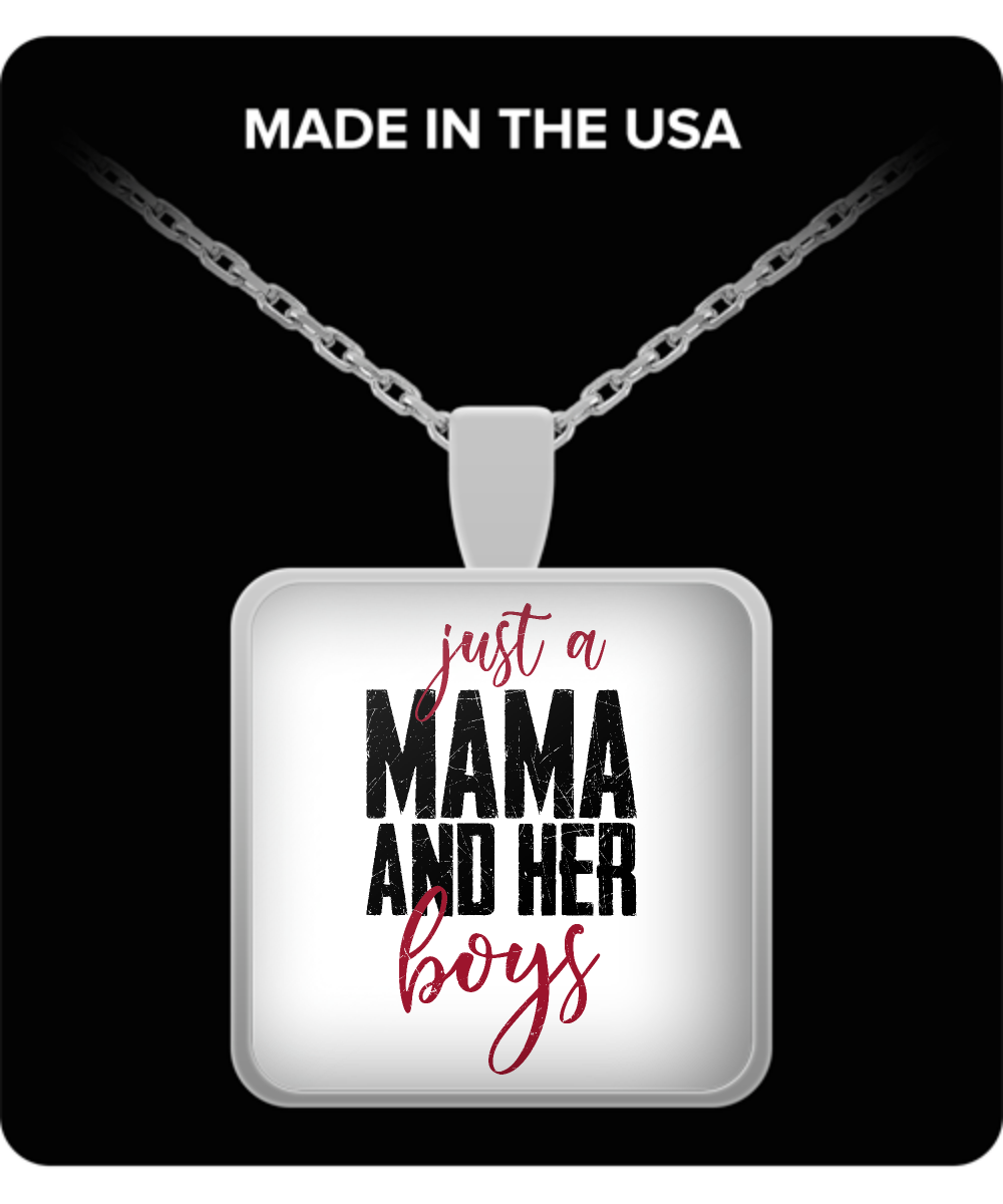 Mom Square Pendant Necklace - Just a Mama and Her Boys