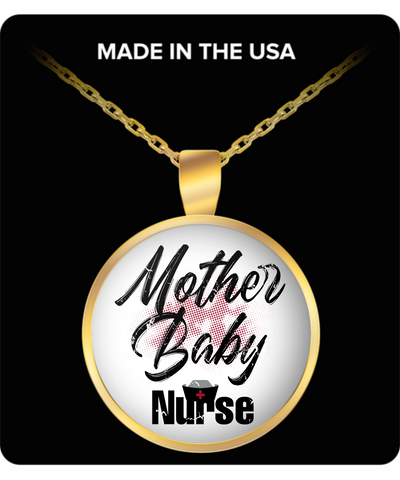 Mom Round Pendant Necklace - Mother Baby Nurse