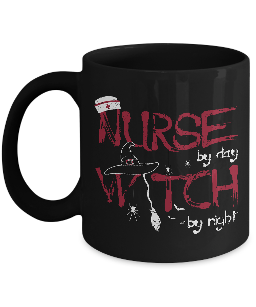 Witch Coffee Mugs - 11oz Coffee Mug - Nurse By Day Witch By Night - Funny Ceramic Tea Cup For Men Women