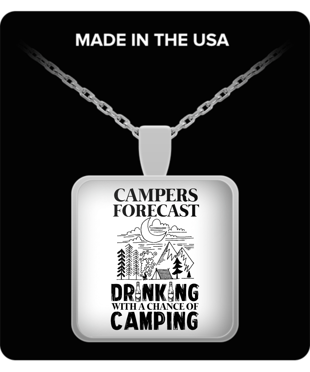 Camper Square Pendant Necklace – Campers Forecast: Drinking With a Chance of Camping
